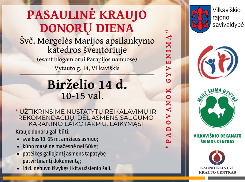 Pasaulinė kraujo donorų diena 2020